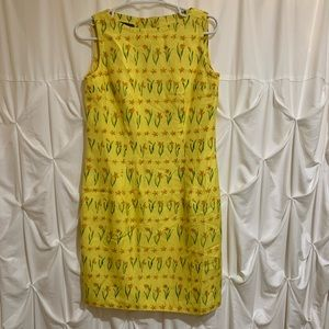 Kay Unger Sleeveless Yellow Floral Dress Sz 6